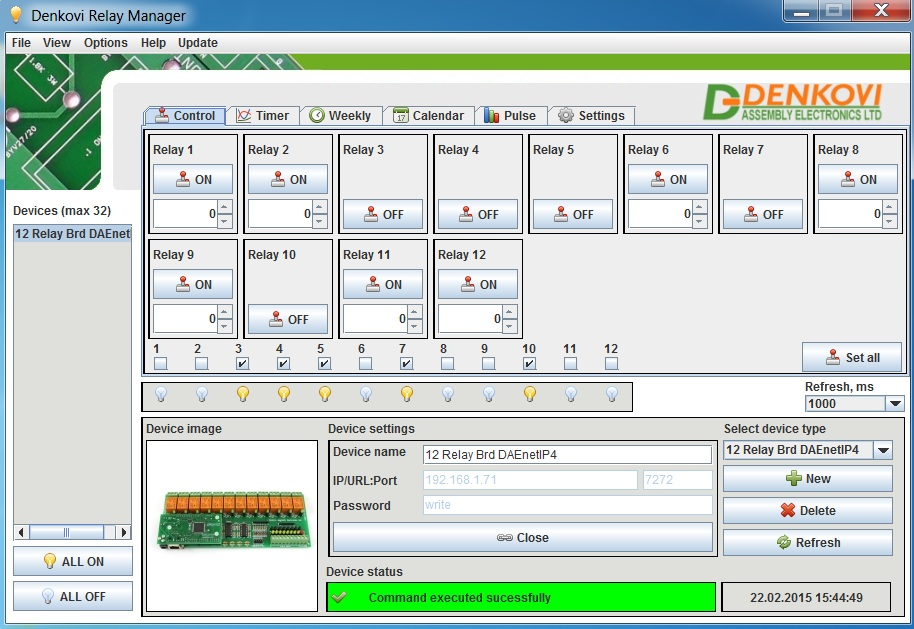 Denkovi Relay Manager Software (DRM Software) and DAEnetIP4 12 Relay Module