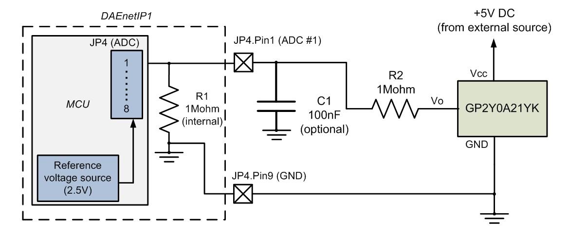 Connecting GP2y0A21YK (distance sensor) to DAEnetIP1