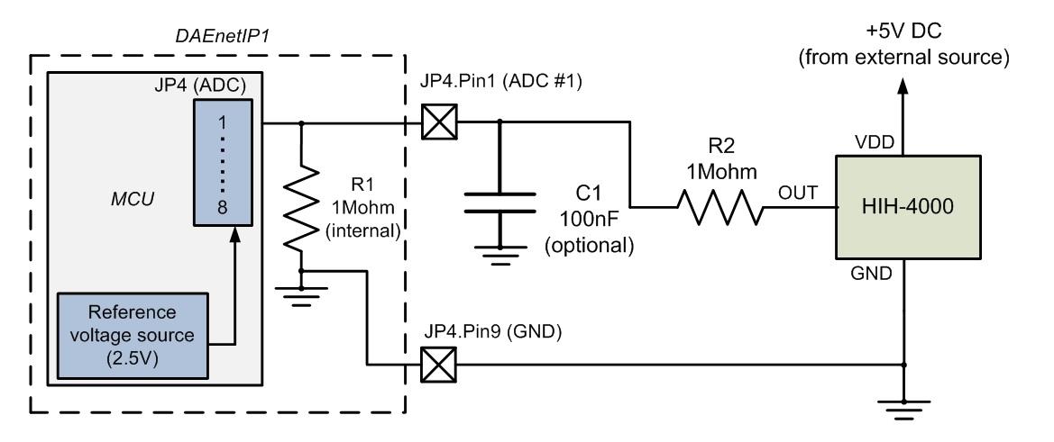 Connecting HIH-4000 (humidity sensor) to DAEnetIP1