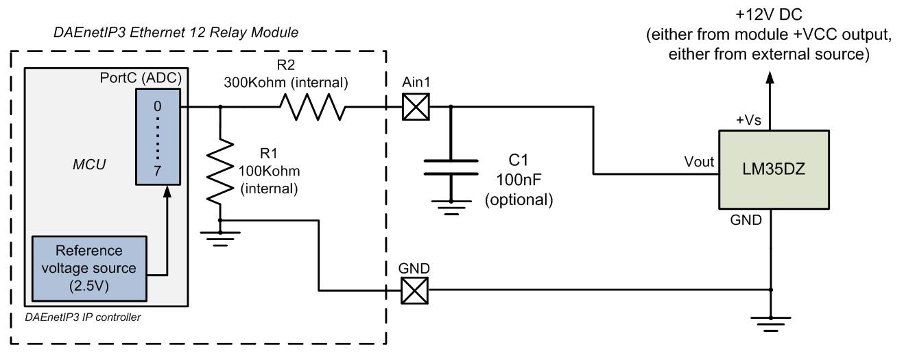 Connecting LM35DZ (temperature sensor) to DAEnetIP3