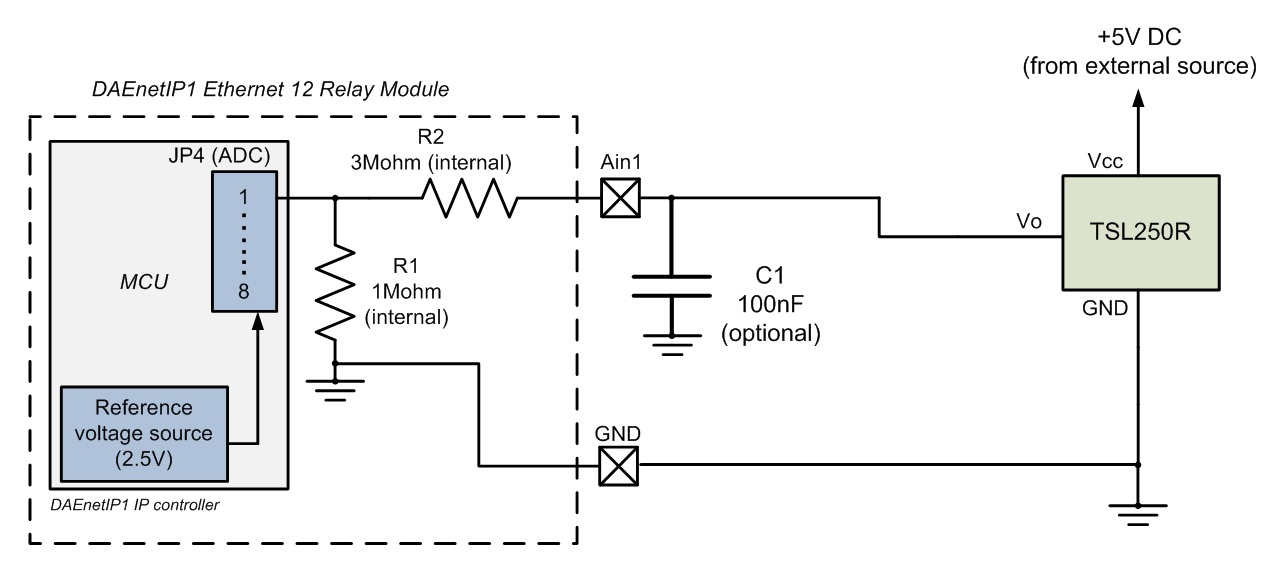 Connecting TSL250R (light to voltage optical sensor) to DAEnetIP1 Relay Module
