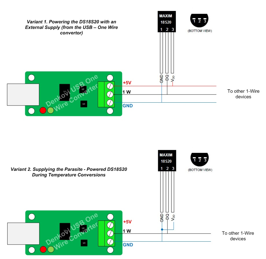Usb To One Wire Interface Adaptor Converter Thermometer Usd Wiring Diagram Connection Ds18s20 Denkovi