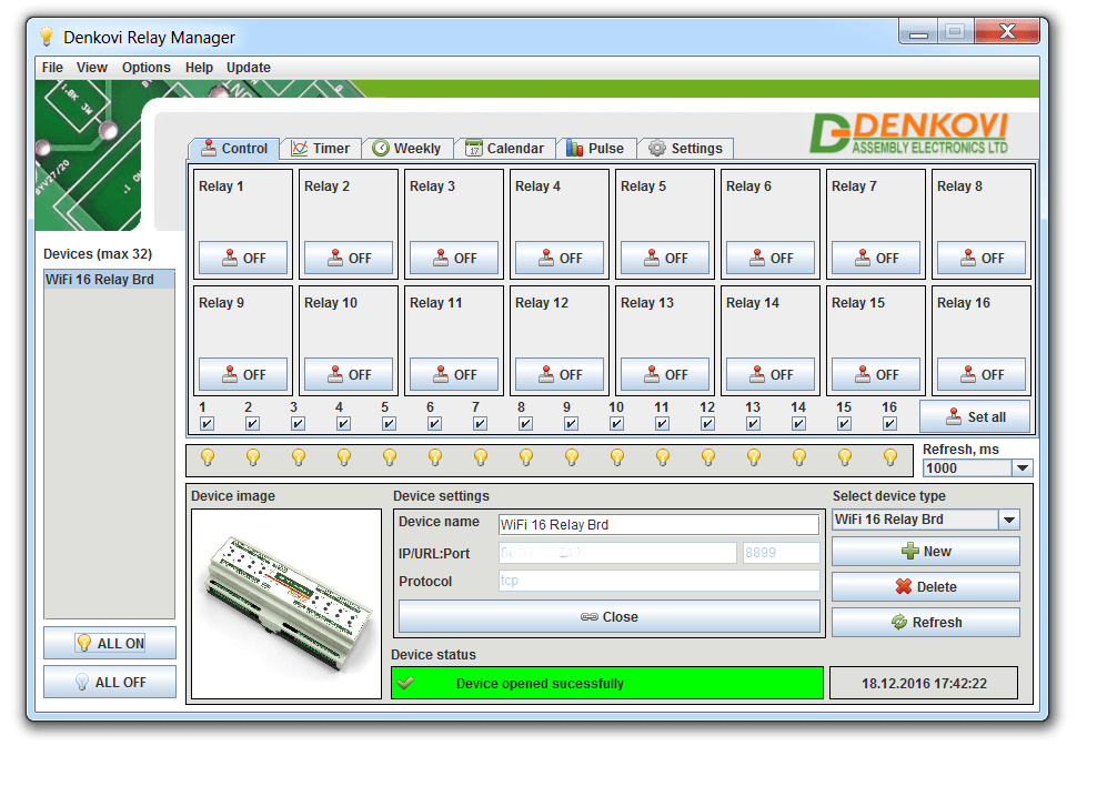 Denkovi Relay Manager Software (DRM Software) and Wi-Fi 16 Relay Board