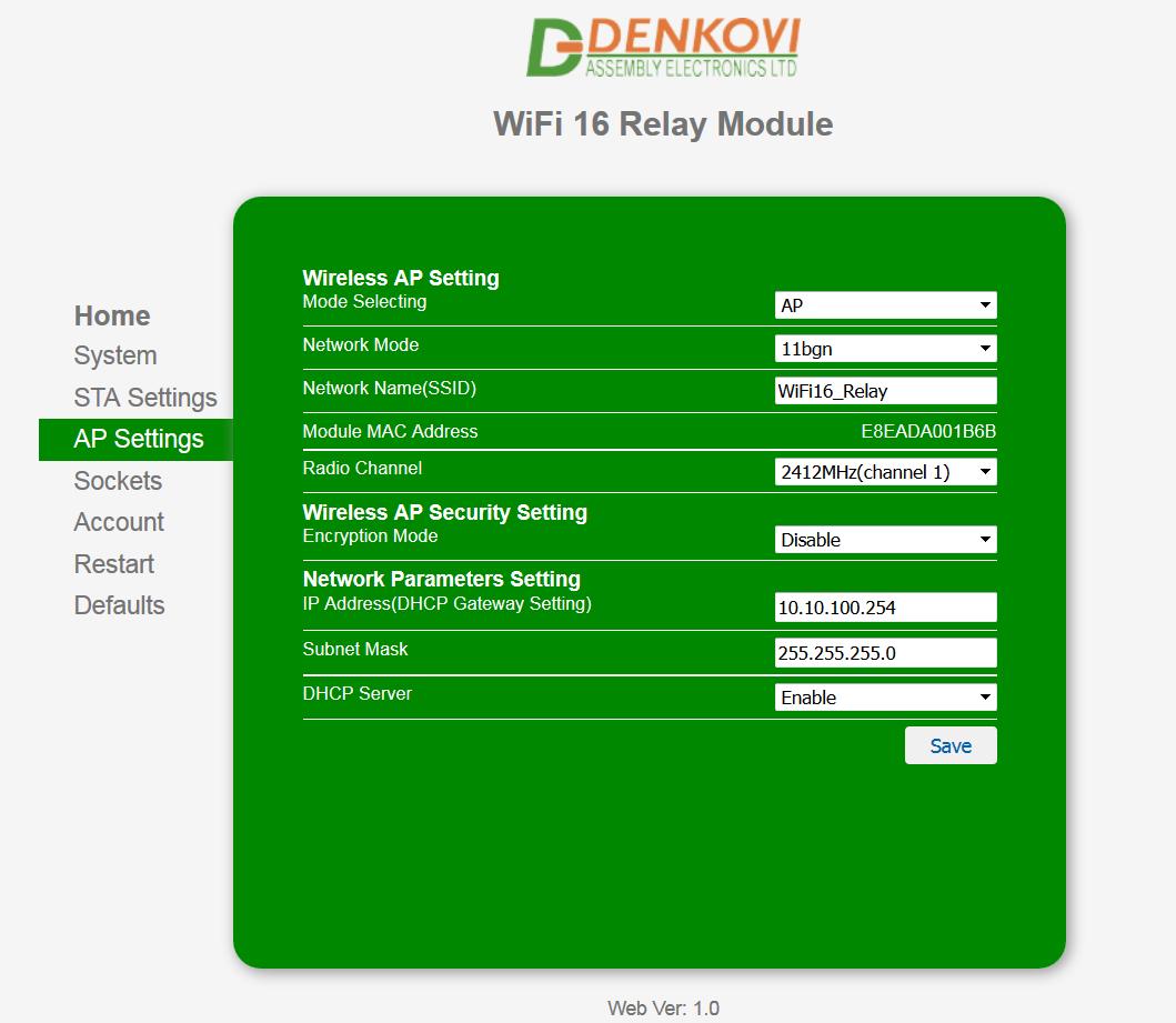 Wi-Fi 16 Relay Module - web server
