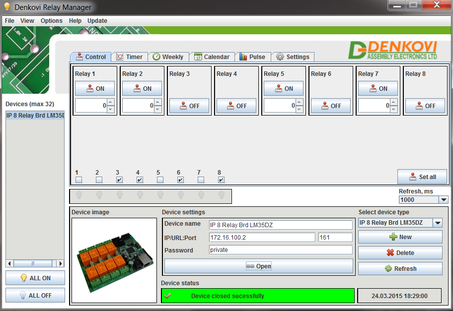 Denkovi Relay Manager Software (DRM Software) and SNMP 8 Relay Module LM35DZ