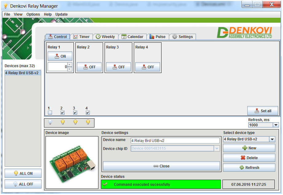 Denkovi Relay Manager Software (DRM Software) and USB 4 Relay Board