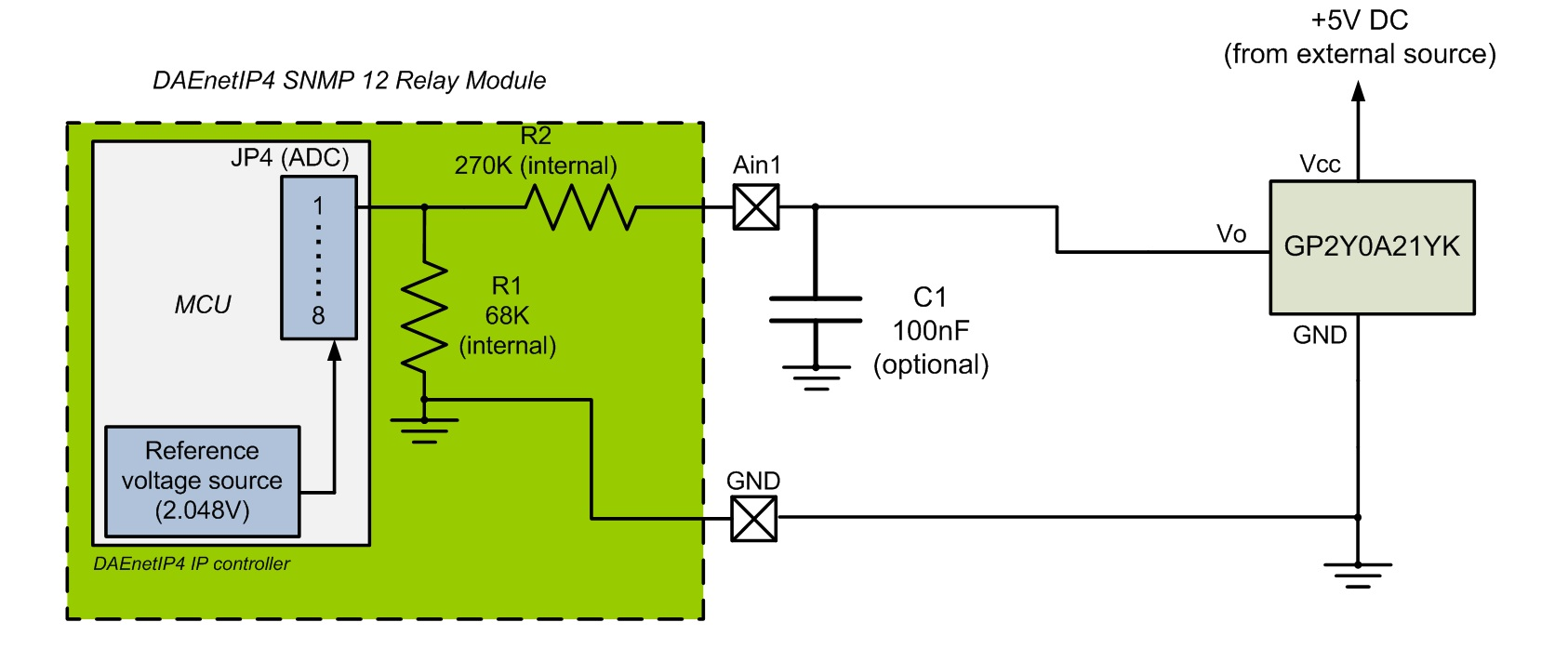 Connecting GP2y0A21YK (distance sensor) to DAEnetIP4 12 Relay Board