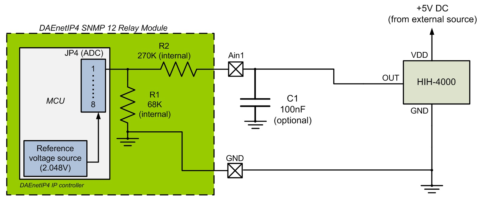 Connecting HIH-4000 (humidity sensor) to DAEnetIP4 12 Relay Module