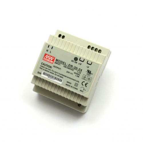 24V/1.5A Industrial DIN Rail Power Supply MEAN WELL DR-30-24