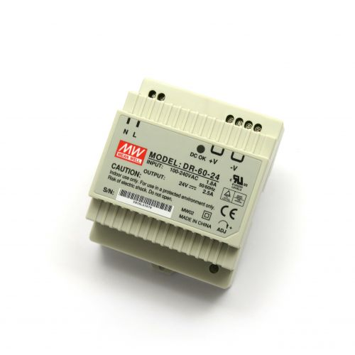24V/2.5A Industrial DIN Rail Power Supply MEAN WELL DR-60-24