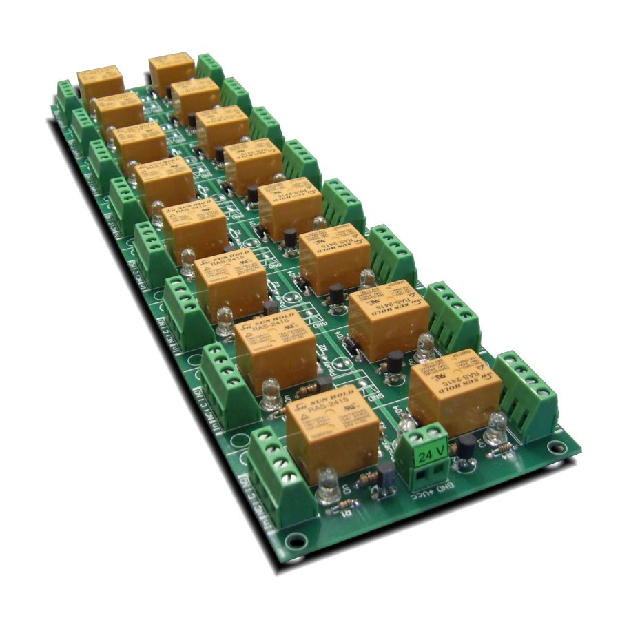 16 Channel relay board for your Arduino or Raspberry PI - 24V on