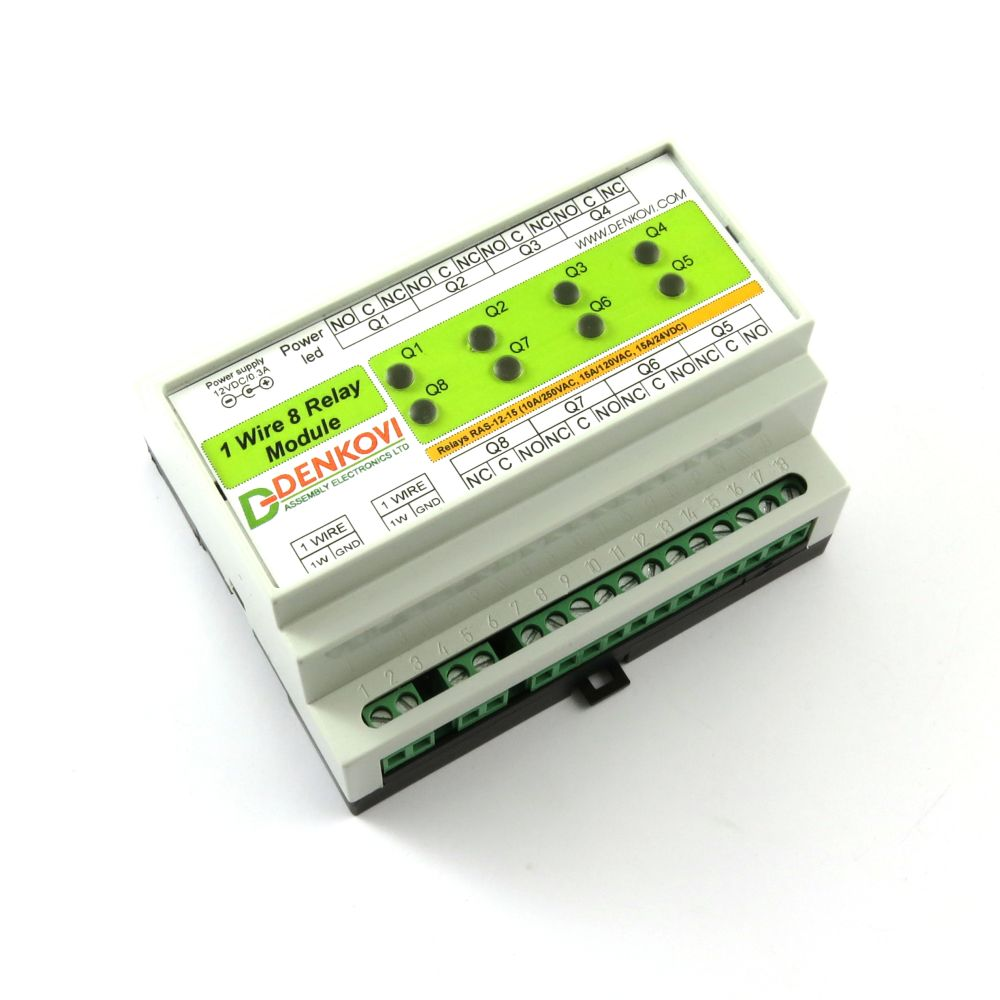 1 Wire Eight Channel Relay Module For Home Automation With Din Box Terminal Board One 8 Spdt Channels
