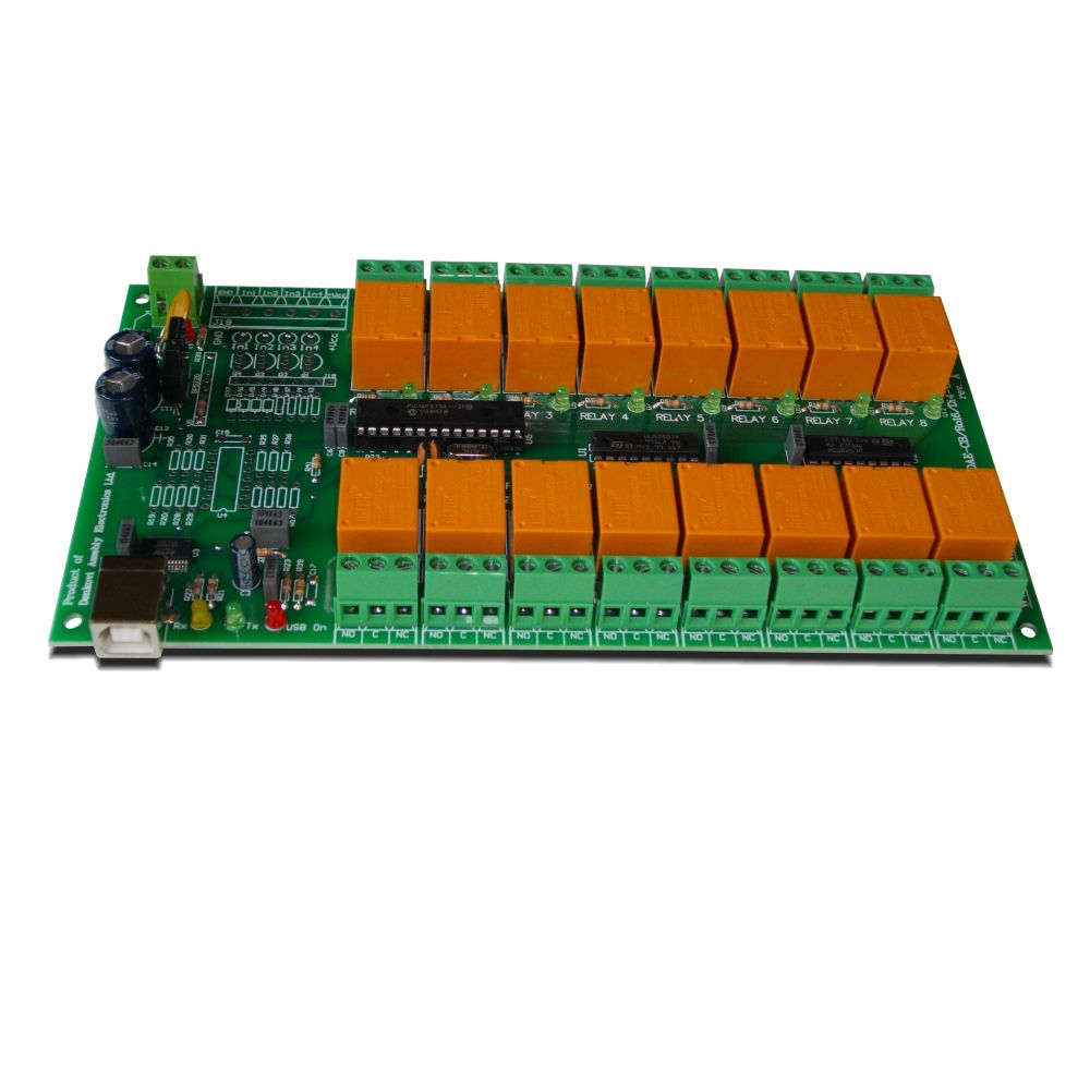 USB 16 Channel Relay Module - RS232 Controlled, 12V - ver 2