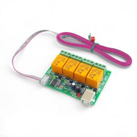USB Four Channel Relay Board with temperature sensor TCN75A