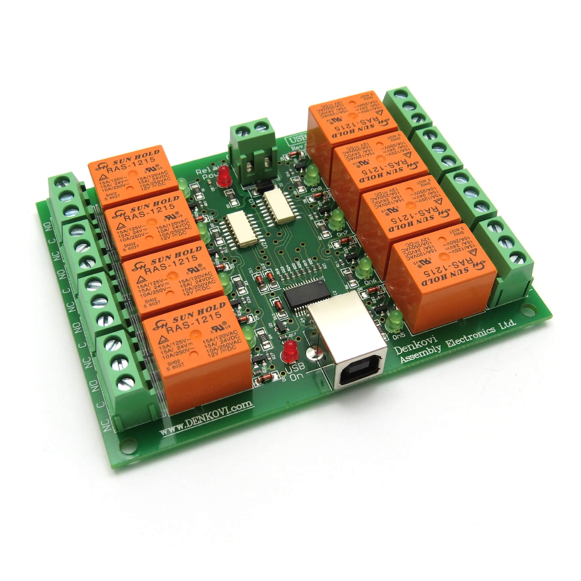 Usb Eight8 Relay Output Module Switch Board 12v 3800159301204 Ebay Electrical Use This Is Controlled Opto Isolated With 8 Spdt Relays 10a 250vac 15a 120vac 28vdc You May It For Simple On Off Switching