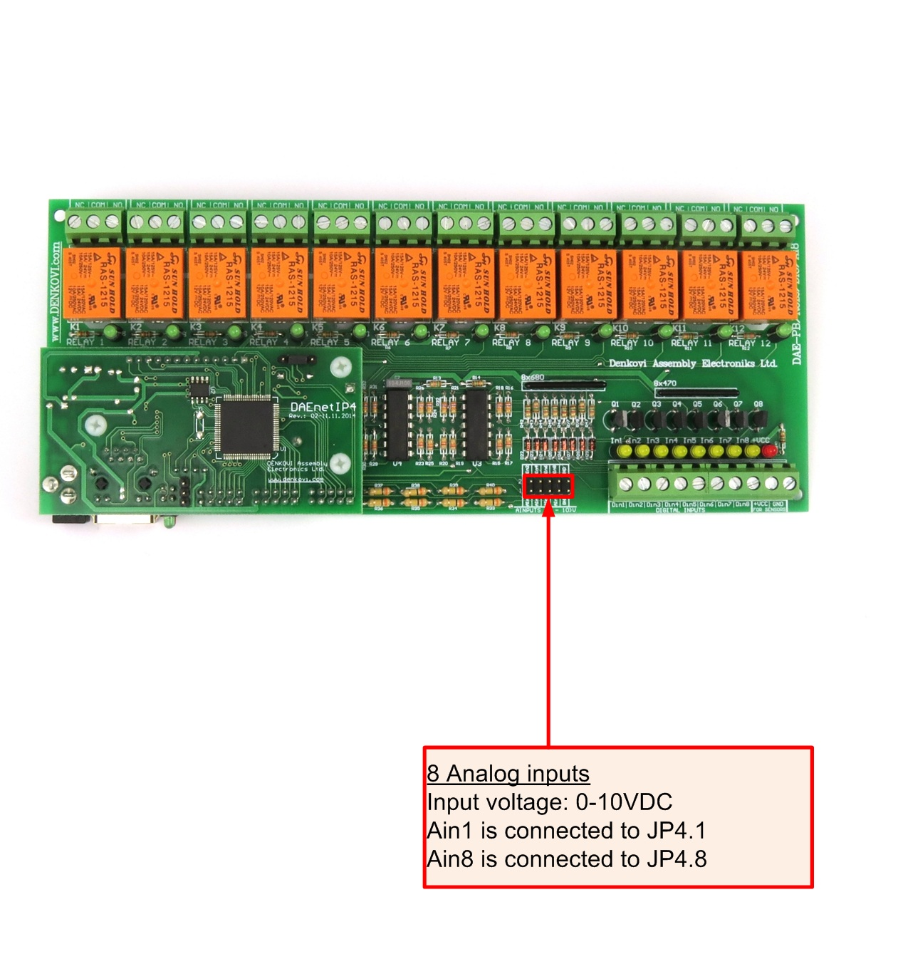Dae An010 Connecting Analog Sensors To Daenetip4 Snmp 12 Relay Digital Temperature Meter Using Lm335 Or Lm135 Adc Port