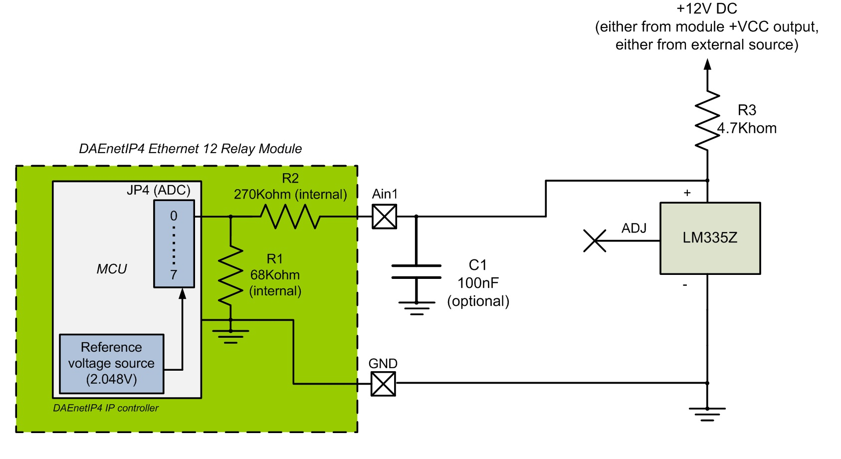 Dae An010 Connecting Analog Sensors To Daenetip4 Snmp 12 Relay Digital Temperature Meter Using Lm335 Or Lm135 Lm335z Sensor