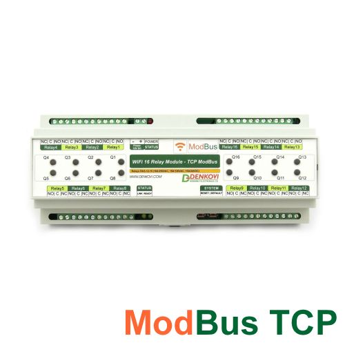 Wi-Fi 16 Relay Module - ModBus TCP, DIN RAIL BOX