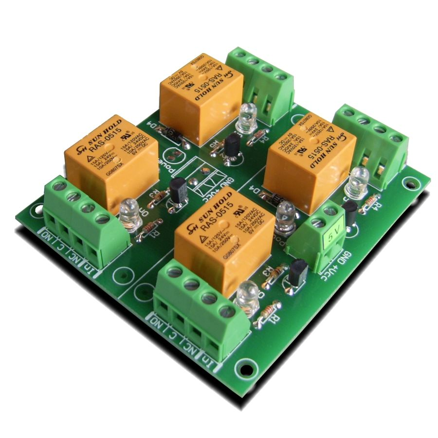 Relay module 5V - 4 channels for Raspberry PI, Arduino, PIC,AVR