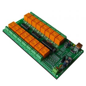 USB 16 Channel Relay Module - RS232 Controlled, 12V - ver.2